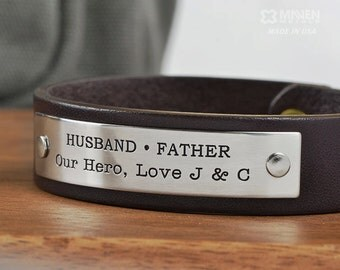 Mens Personalized Leather Bracelet, Daughter Son to Father Gift - Personalize with ANY TEXT up to 40 characters