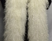 Natural White Mongolian Lamb Tibetan  Fur Boa new made in usa real genuine authentic tibet fur scarf
