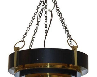 Dramatic Vintage Glam Art Deco Hanging Black & Gold Circular Raked Pendant Lamp