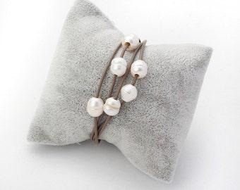 handmade Jewelry Necklace Pearl Bracelet Leather Bracelet Layered Bracelet Layered Pearl Leather Bracelet White Pearl Bracelet Pearl