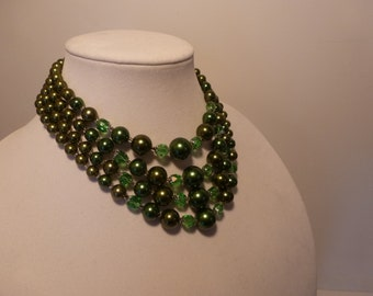 Vintage Multi Strand Necklace Signed Japan 4 Strands of Green Beads Beaded Necklace