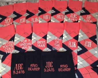 Groom Socks - Groomsmen Gift - Argyle Mens Monogram Socks - Mens Dress Socks - Wedding Party Gift - cotton -Coral - Navy