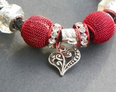 Valentine Bracelet adjustable bracelet heart bracelet goth bracelet red bracelet black bracelet multi size bracelet valentine jewelry