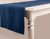 Linen table runner Indigo blue natural runners Handmade with deep hems and mitered corners Custom table linens