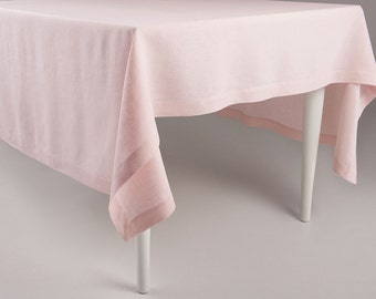 Dusty rose linen tablecloth Light pink or ballet slipper color tablecloths with deep hems, mitered corners Classic table linens collection