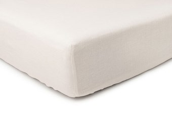 Off white linen fitted sheet, Queen bed sheets, King sheets, Double Full or Twin size fitted sheets, Off white linen bedding