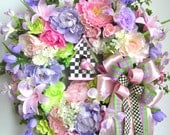 Spring Wreath, Mother's Day Wreath, Summer Wreath, Bird House Wreath, Bird Wreath, Pink Wreath, Tulip Wreath