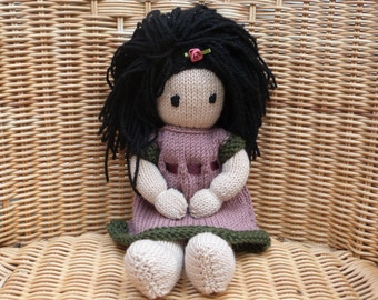 "12"" Hand Knitted Doll Handmade Doll  Black Hair Knitted Doll Soft Merino Wool Doll with Removable Dress and Lambswool Filling"
