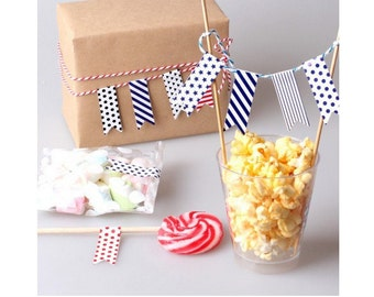 Flag Stickers, Straw Flags Set of 20