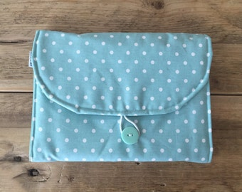 Diaper Changing Pad - Diapering on the Go - Pale Blue With Small White Dots