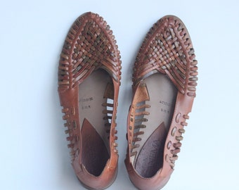 Vintage Ipanema Women's Brown Woven Leather Slip On Flats Size 6.5