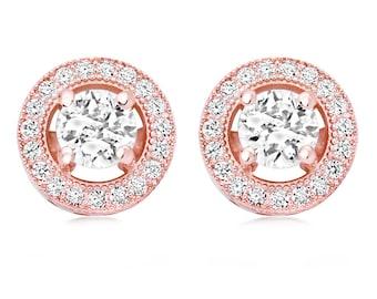 Rose gold earrings, bridal rose gold studs, rose gold crystal earrings, bridal cz earrings, bridal crystal earrings, rose gold earrings,