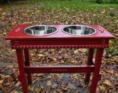 2 Three Quart Bowls, Elevated Dog Feeder, Cottage Chic, Raised, Colonial Red, Copper Underlay, Dog Bowl, Pet Stand, Made to Order