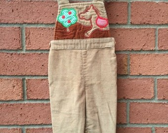 Vintage Carter's Light Brown Corduroy Overalls Embroidered w/ Horse Apple & Tree - 12 MONTHS (19-22 POUNDS)