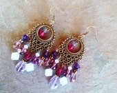 Fuchsia boho chandelier earrings, Bohemian gypsy long hippie antique gold chandelier earrings with amethyst,  fuchsia and violet crystal