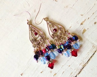 colorful chandelier earrings, Long Gypsy Silver chandelier statement earrings with red crystal, purple and blue glass
