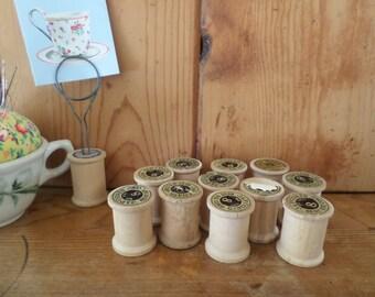 11 Wood Thread Spools