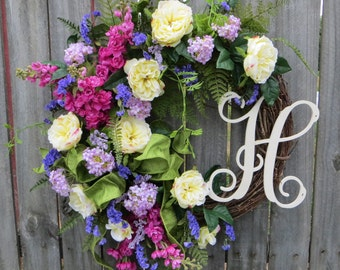 Door Wreath, Monogram Wreath, Formal Garden Wreath, Garden Wreath for Spring, Rose Wreath, Green Wreath, Natural Front Door