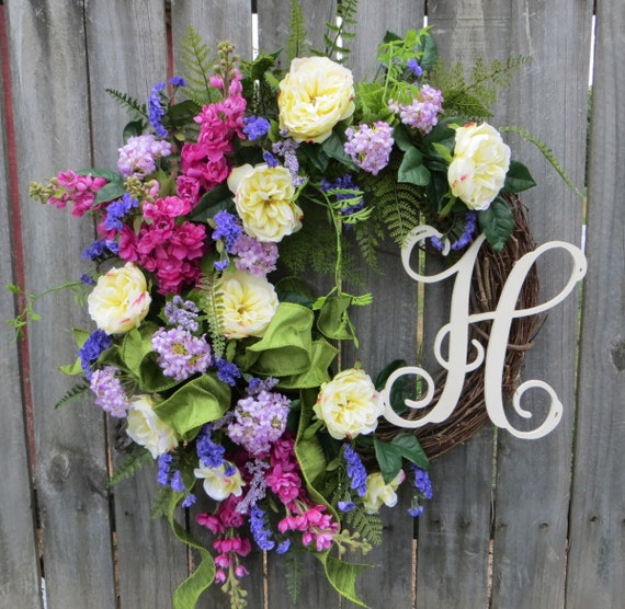 Door Wreath, Monogram Wreath, Formal Garden Wreath, Garden Wreath for Spring, Rose Wreath, Green Wreath, Natural Front Door