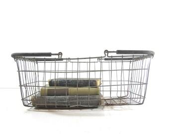Vintage Metal Wire Basket, Metal Shopping Basket, Industrial Storage