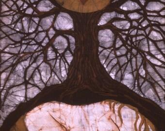 Horse Sleeping Under Tree of Rebirth - batik print from original