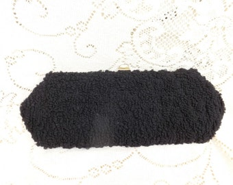 Vintage Black Chenille Clutch Purse 1950 fashion Retro style Evening bag Classic
