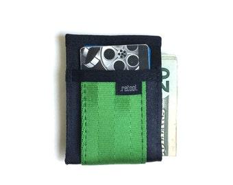Front Pocket Wallet - Credit Card Holder with Center Slot for Cash - Black and Green Seatbelt Webbing