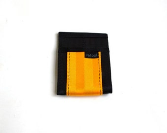 Minimalist Wallet in Black and Gold Seatbelt Webbing - Vegan Wallet - Credit Card Holder
