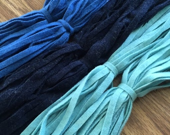 The Blues - 150 Primitive Hand Cut Wool Strips for Rug Hooking