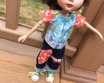 Doll clothes, Tonner, Patience, scrappy top and jeans, birds and kitty