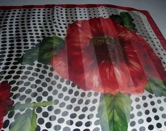 IITALIAN SILK VINTAGE Designer Scarf By Larioseta Chic Rae Rose Polka Dot Abstract Print in Black White N Red