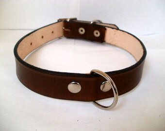 "Leather dog collar, L, 1"" wide, with rear D ring, full grain leather"