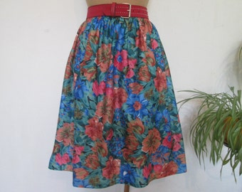 Full Skirt / Knee Length Skirt / Skirt Vintage / Full Skirt Floral / Size EUR42 / 44 / UK14 / 16 / Poly / Pink / Blue / Pink