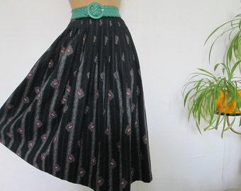 Cotton Skirt / Skirt Vintage / Long Skirt/ Long Cotton Skirt / Full Cotton Skirt / Size EUR38 / UK10 / Lining