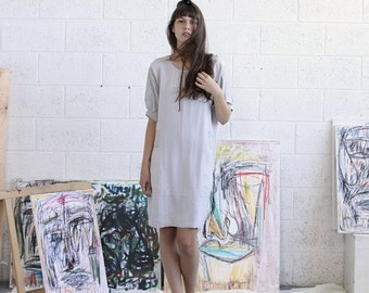 Final Summer Sale Embroidered Dress, Silver Midi Dress, Casual Dress