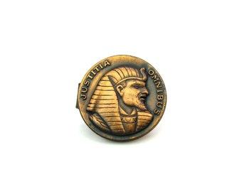 Mens Tie Clip. Egyptian Revival Tie Clasp. Copper Pharaoh. Justice for All 'Justitia Omnibus' Vintage 1960s Mens Tie Accessory