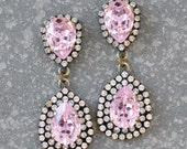 Rose Quartz Earrings Swarovski Crystal Blush PinkPear Mini Rhinestone Duchess Clear Diamond Rhinestone Chandelier Earrings Mashugana
