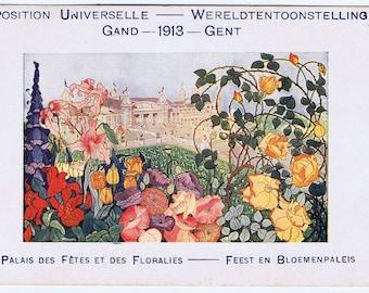 Antique Vintage Belgian Turn of Century Ghent Garden Flower Show 1913 Postcard Paper Ephemera