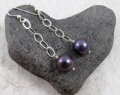 Peacock Pearl Gemstone Earrings, Sterling Silver Chain Dangle, Simple Elegant Jewelry, Mothers Day Gift Idea, Handmade, Freshwater pearls