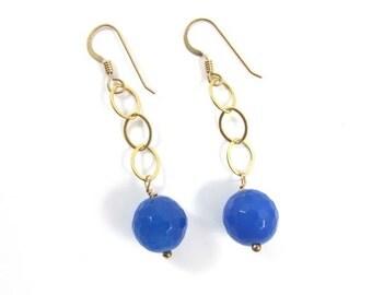 Blue Agate Gemstone Earrings, Gold Chain Dangle, Elegant Mother's Day Gift Idea, Handmade Maui, Gemstones, Handmade Maui, Spring Fashion