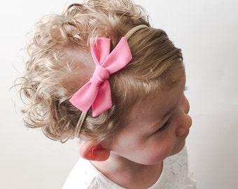 Solid Pink Tied Bow - Bubblegum Tied School Girl Bow Headband or Clip - Pink Pigtail Clip Bows - Newborn Pink Headband - Mini Pink Tied Bow