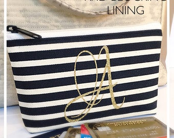 Monogrammed Small Bag Black Creme Stripe Gold Glitter Built-In RFID Blocking Lining Travel Bag Bridesmaid Maid of Honor Graduation Gift