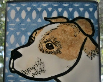 Pit Bull  Stained glass Suncatcher JRN094