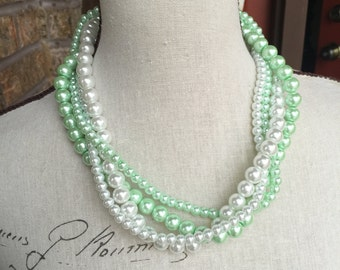 discounted 10 dollars!   Mint green and white chunky pearl necklace 4 strand necklace