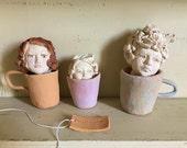 Sculpture Teacup girl - Wonderland cup - Tea Lady - funny painted sculpture - cozy mug - wonderland cup - decor -