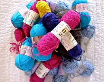 18 Skeins Cotton and Wool Yarn Destash