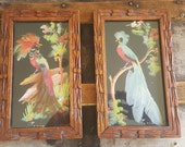 Vintage Mexican FeatherCraft Artwork / Hand Carved Frames
