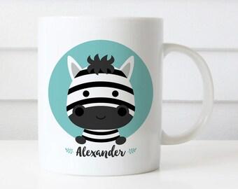 Custom Name Mug, Zebra Mug, Wild Animal, Personalized Mug, Office Mug, Best Friend Gift, Birthday Gift, Cute Animal Mug Gift