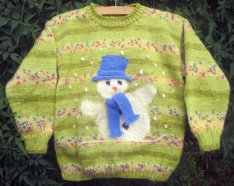 Childrens Christmas handknitted winter holiday sweater jumper green shades with snowman motif picture for girls boys, original design OOAK
