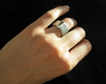 Hexagonal nut ring, US size 5 stainless steel industrial geometric modern pinky ring